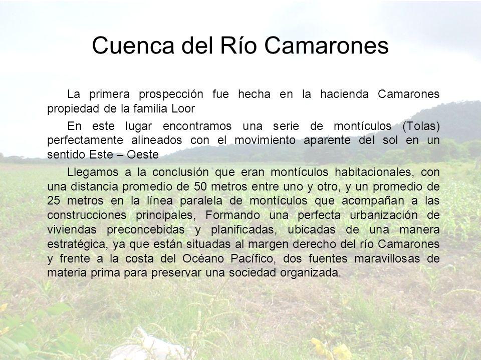 La primera prospección fue hecha en la hacienda Camarones propiedad de la familia Loor En este lugar encontramos una serie de montículos (Tolas) perfe