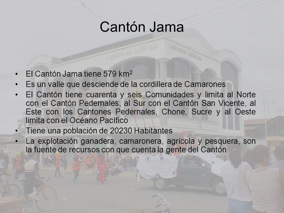 El Cantón Jama tiene 579 km 2 Es un valle que desciende de la cordillera de Camarones El Cantón tiene cuarenta y seis Comunidades y limita al Norte co