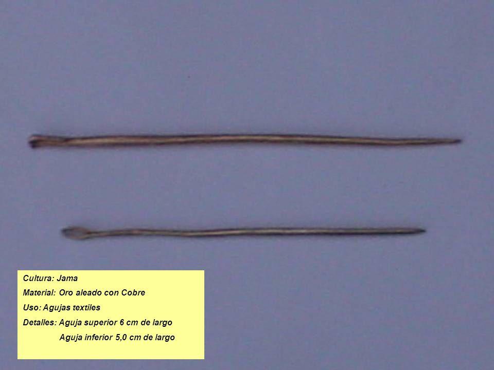 Cultura: Jama Material: Oro aleado con Cobre Uso: Agujas textiles Detalles: Aguja superior 6 cm de largo Aguja inferior 5,0 cm de largo