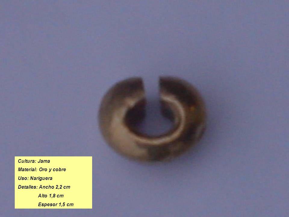 Cultura: Jama Material: Oro y cobre Uso: Nariguera Detalles: Ancho 2,2 cm Alto 1,8 cm Espesor 1,5 cm