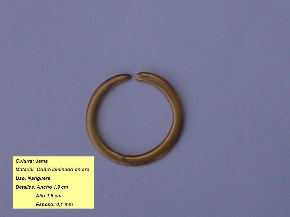 Cultura: Jama Material: Cobre laminado en oro Uso: Nariguera Detalles: Ancho 1,9 cm Alto 1,8 cm Espesor 0,1 mm