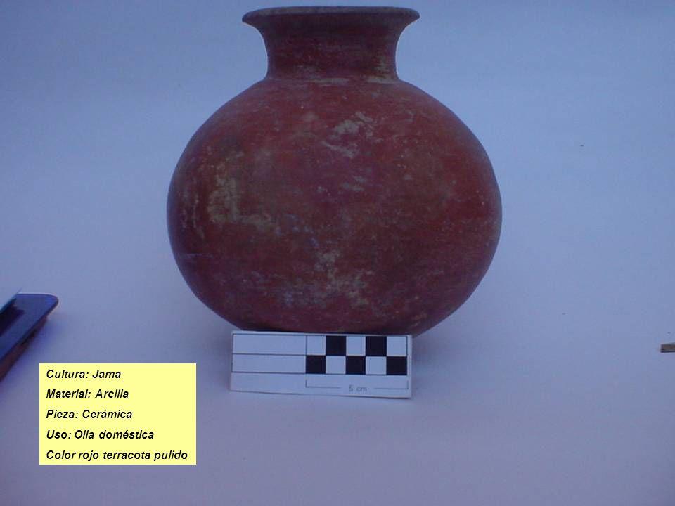 Cultura: Jama Material: Arcilla Pieza: Cerámica Uso: Olla doméstica Color rojo terracota pulido