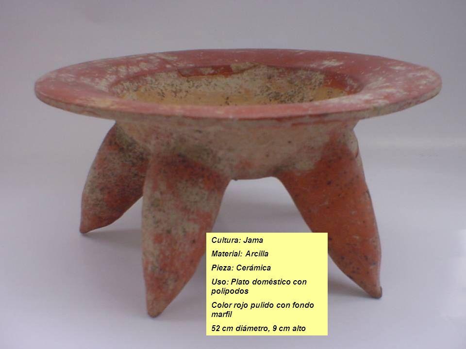 Cultura: Jama Material: Arcilla Pieza: Cerámica Uso: Plato doméstico con polípodos Color rojo pulido con fondo marfil 52 cm diámetro, 9 cm alto