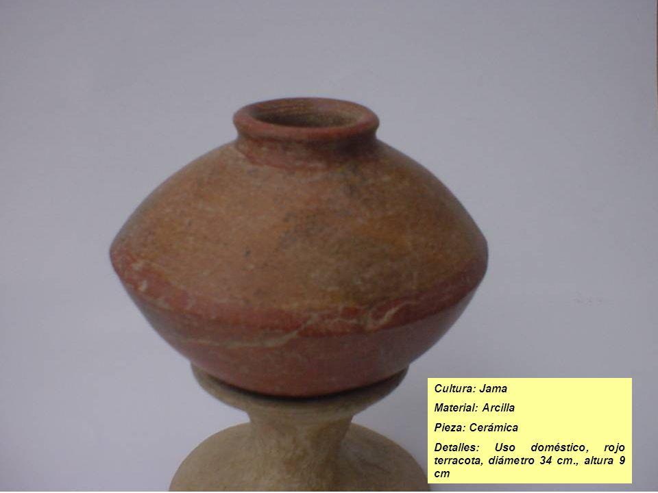 Cultura: Jama Material: Arcilla Pieza: Cerámica Detalles: Uso doméstico, rojo terracota, diámetro 34 cm., altura 9 cm
