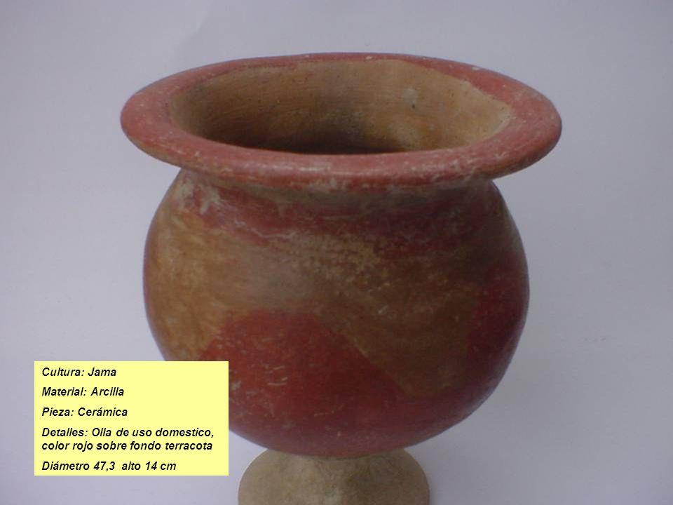 Cultura: Jama Material: Arcilla Pieza: Cerámica Detalles: Olla de uso domestico, color rojo sobre fondo terracota Diámetro 47,3 alto 14 cm