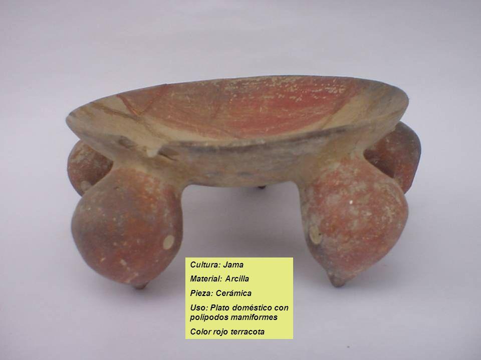 Cultura: Jama Material: Arcilla Pieza: Cerámica Uso: Plato doméstico con polípodos mamiformes Color rojo terracota