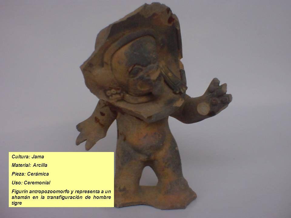 Cultura: Jama Material: Arcilla Pieza: Cerámica Uso: Ceremonial Figurín antropozoomorfo y representa a un shamán en la transfiguración de hombre tigre