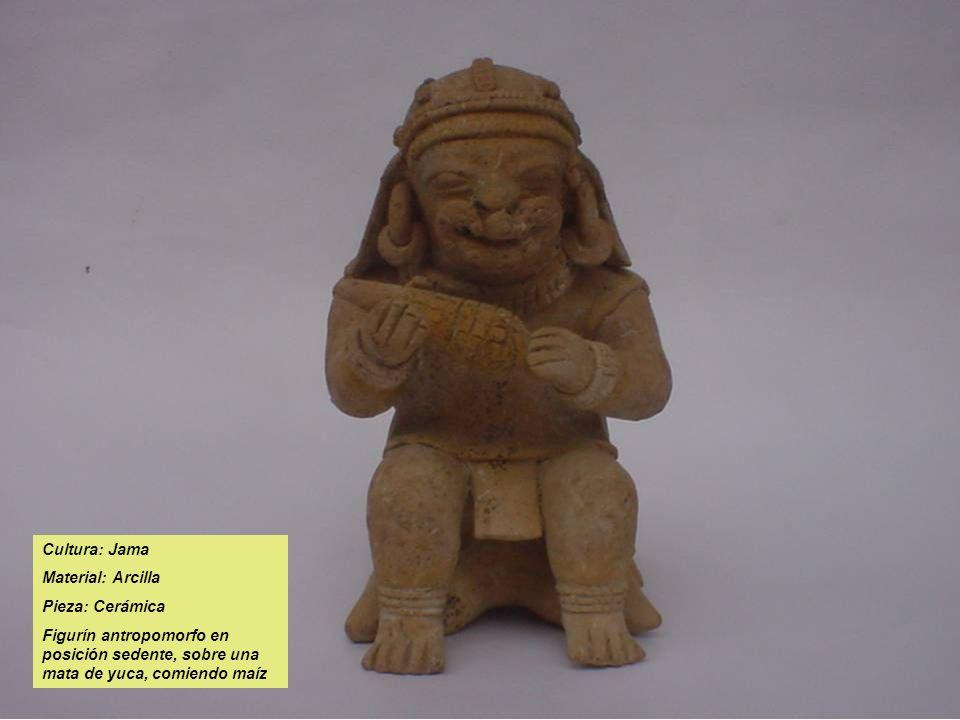 Cultura: Jama Material: Arcilla Pieza: Cerámica Figurín antropomorfo en posición sedente, sobre una mata de yuca, comiendo maíz