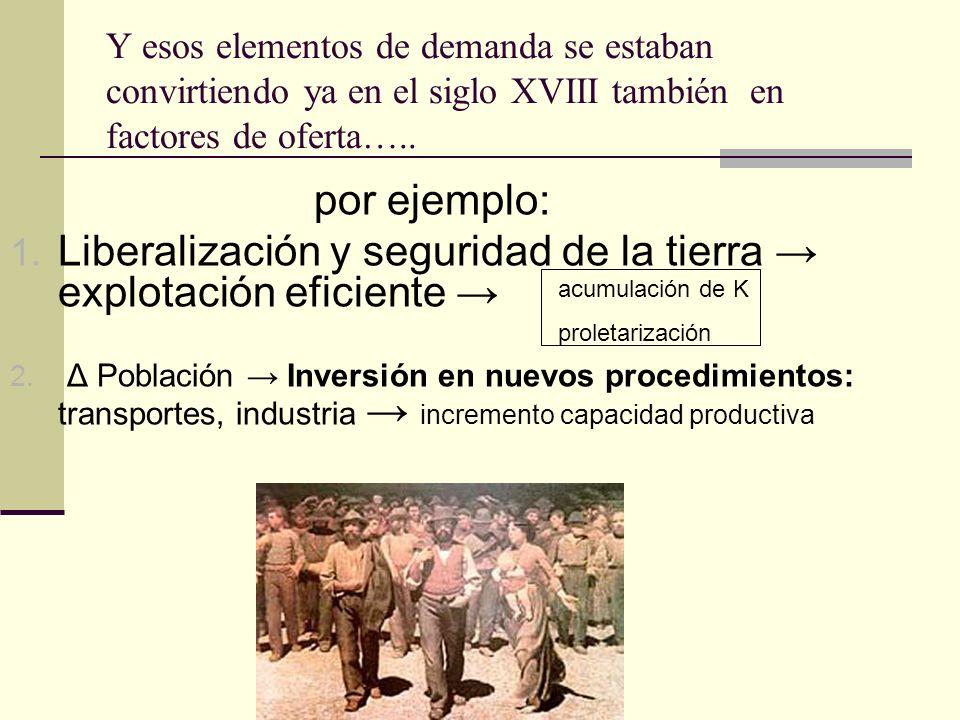 Y esos elementos de demanda se estaban convirtiendo ya en el siglo XVIII también en factores de oferta….. por ejemplo: 1. Liberalización y seguridad d