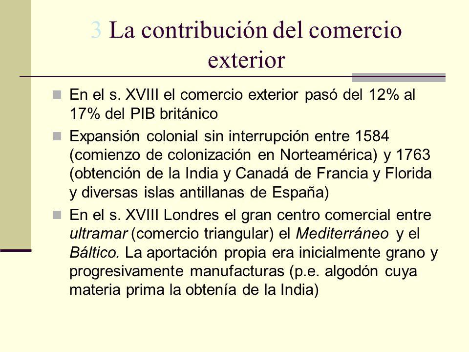 3 La contribución del comercio exterior En el s. XVIII el comercio exterior pasó del 12% al 17% del PIB británico Expansión colonial sin interrupción