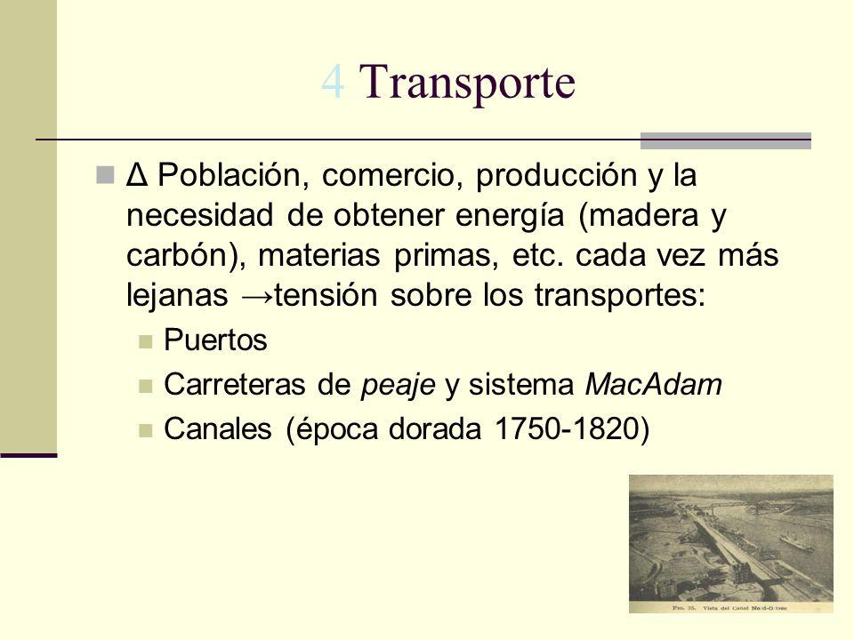 4 Transporte Δ Población, comercio, producción y la necesidad de obtener energía (madera y carbón), materias primas, etc. cada vez más lejanas tensión