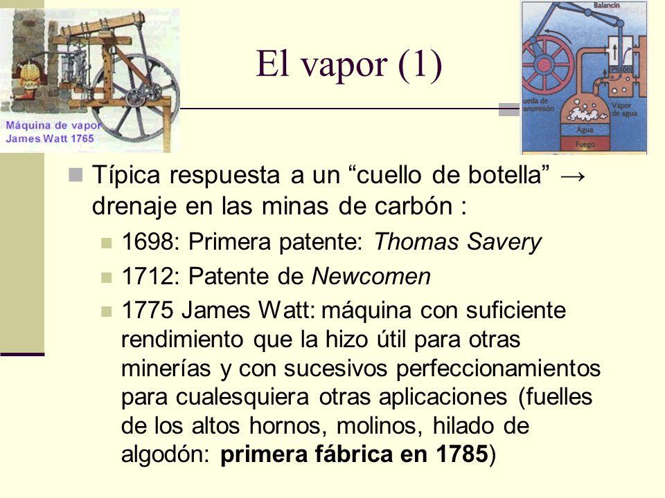 El vapor (1) Típica respuesta a un cuello de botella drenaje en las minas de carbón : 1698: Primera patente: Thomas Savery 1712: Patente de Newcomen 1