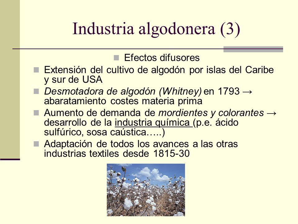 Industria algodonera (3) Efectos difusores Extensión del cultivo de algodón por islas del Caribe y sur de USA Desmotadora de algodón (Whitney) en 1793 abaratamiento costes materia prima Aumento de demanda de mordientes y colorantes desarrollo de la industria química (p.e.