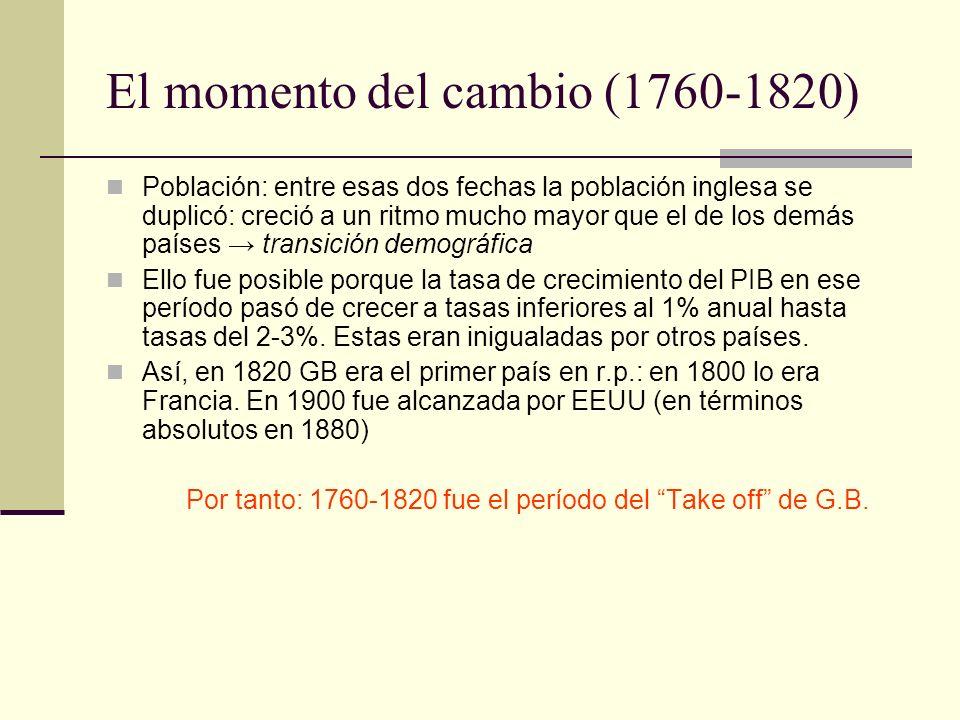 El momento del cambio (1760-1820) Población: entre esas dos fechas la población inglesa se duplicó: creció a un ritmo mucho mayor que el de los demás países transición demográfica Ello fue posible porque la tasa de crecimiento del PIB en ese período pasó de crecer a tasas inferiores al 1% anual hasta tasas del 2-3%.