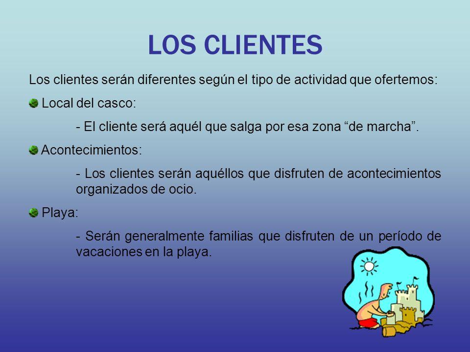 LOS CLIENTES Los clientes serán diferentes según el tipo de actividad que ofertemos: Local del casco: - El cliente será aquél que salga por esa zona d