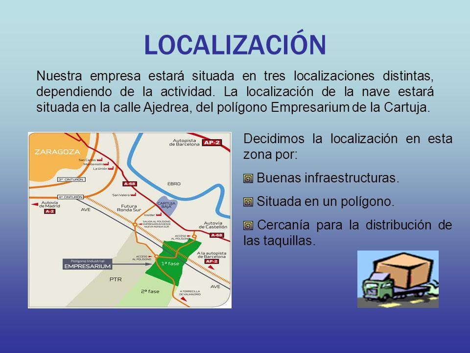 LOCALIZACIÓN Nuestra empresa estará situada en tres localizaciones distintas, dependiendo de la actividad. La localización de la nave estará situada e