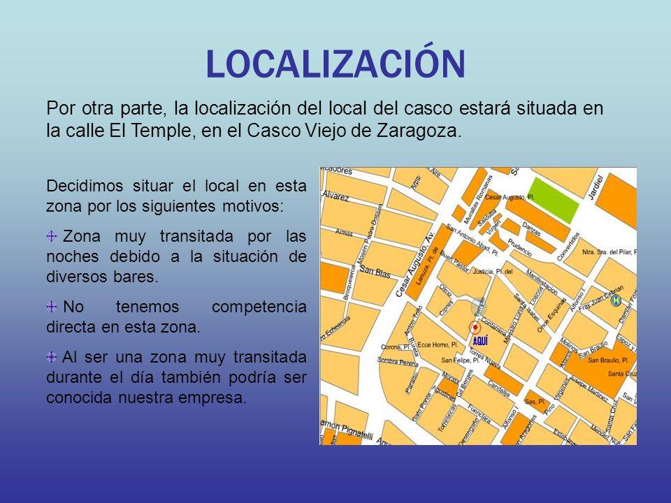 LOCALIZACIÓN Por otra parte, la localización del local del casco estará situada en la calle El Temple, en el Casco Viejo de Zaragoza.