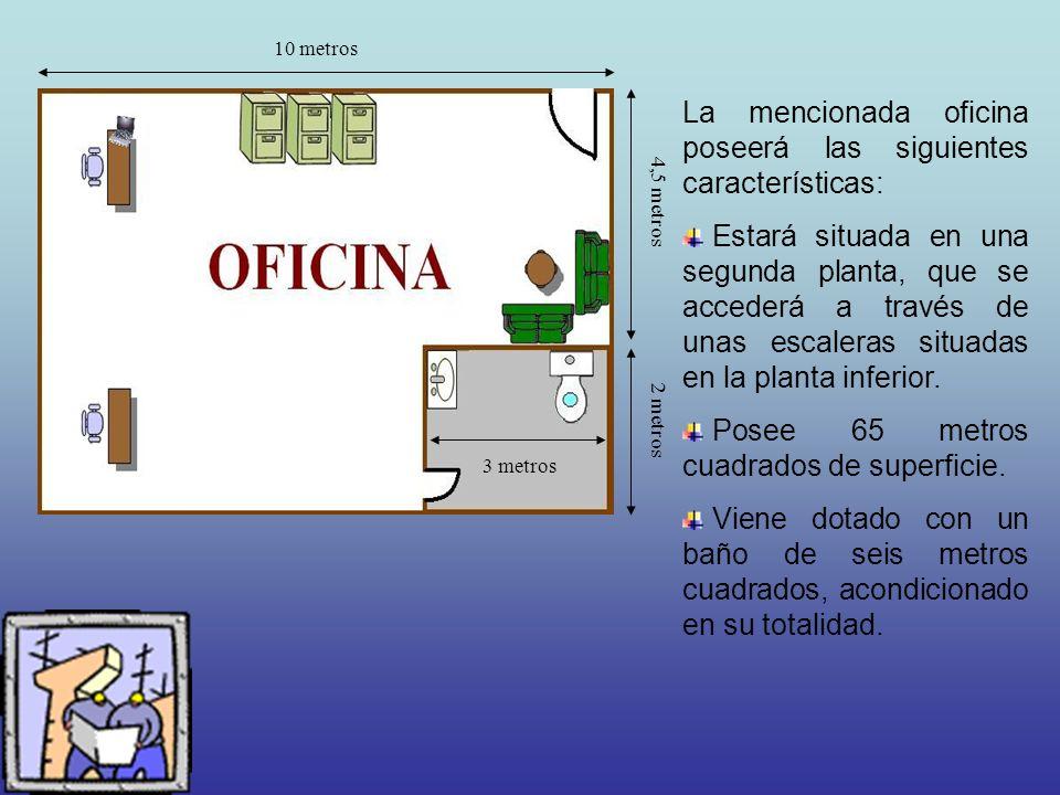 10 metros 4,5 metros 2 metros 3 metros La mencionada oficina poseerá las siguientes características: Estará situada en una segunda planta, que se accederá a través de unas escaleras situadas en la planta inferior.