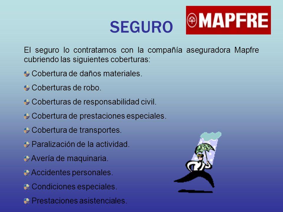 SEGURO El seguro lo contratamos con la compañía aseguradora Mapfre cubriendo las siguientes coberturas: Cobertura de daños materiales. Coberturas de r