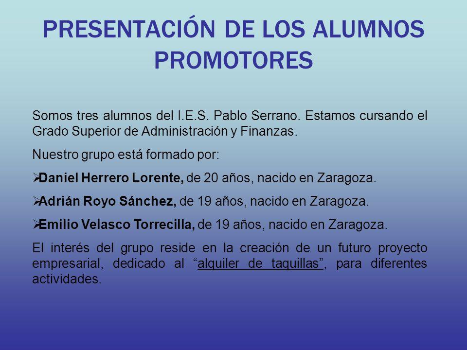 PRESENTACIÓN DE LOS ALUMNOS PROMOTORES Somos tres alumnos del I.E.S. Pablo Serrano. Estamos cursando el Grado Superior de Administración y Finanzas. N