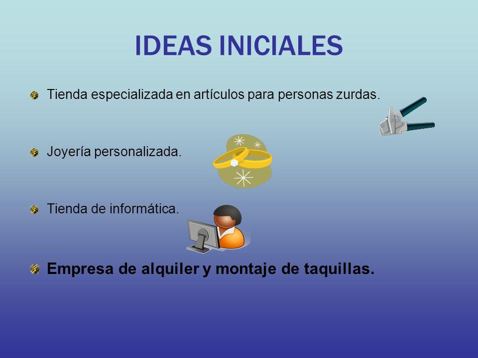 IDEAS INICIALES Tienda especializada en artículos para personas zurdas. Joyería personalizada. Tienda de informática. Empresa de alquiler y montaje de