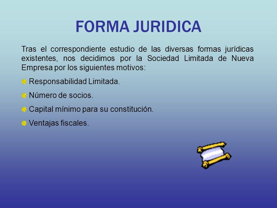 FORMA JURIDICA Tras el correspondiente estudio de las diversas formas jurídicas existentes, nos decidimos por la Sociedad Limitada de Nueva Empresa po