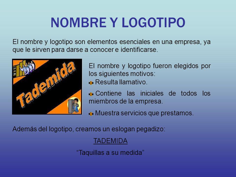NOMBRE Y LOGOTIPO El nombre y logotipo son elementos esenciales en una empresa, ya que le sirven para darse a conocer e identificarse.
