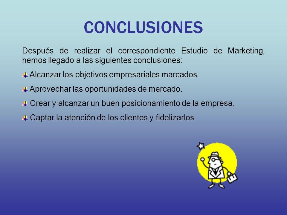CONCLUSIONES Después de realizar el correspondiente Estudio de Marketing, hemos llegado a las siguientes conclusiones: Alcanzar los objetivos empresariales marcados.