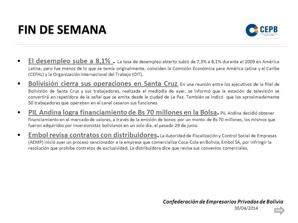 FIN DE SEMANA El desempleo sube a 8,1%.