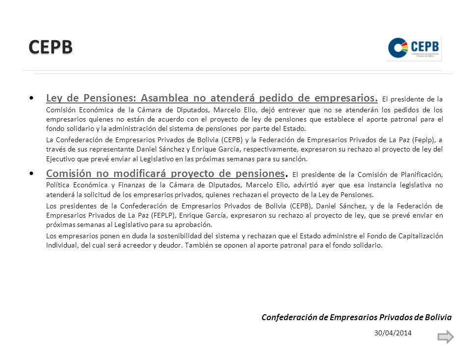 CEPB Ley de Pensiones: Asamblea no atenderá pedido de empresarios.