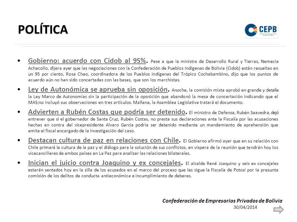 POLÍTICA Gobierno: acuerdo con Cidob al 95%.