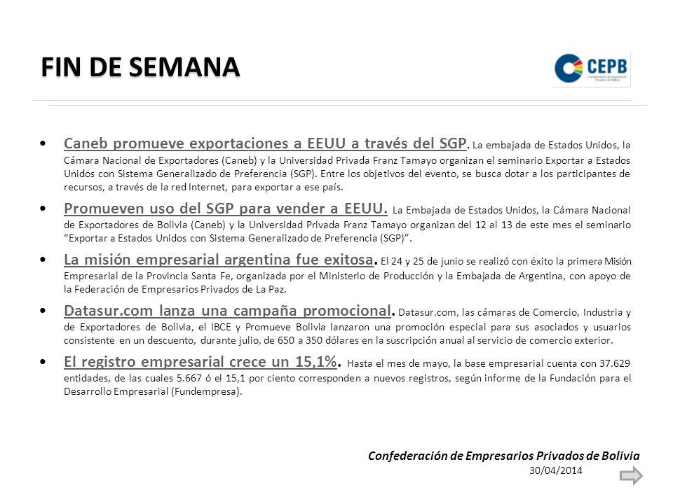 FIN DE SEMANA Caneb promueve exportaciones a EEUU a través del SGP.