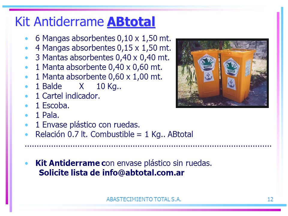 ABASTECIMIENTO TOTAL S.A.12 ABtotal Kit Antiderrame ABtotal 6 Mangas absorbentes 0,10 x 1,50 mt. 4 Mangas absorbentes 0,15 x 1,50 mt. 3 Mantas absorbe