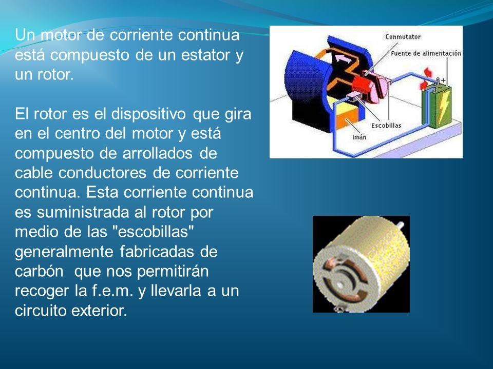 Un motor de corriente continua está compuesto de un estator y un rotor. El rotor es el dispositivo que gira en el centro del motor y está compuesto de