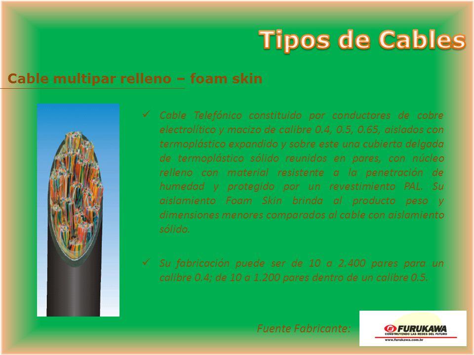Cable multipar auto-soportado Cable Telefónico aéreo constituido por conductores de cobre electrolítico y macizo de calibre 0.4, 0.5 o 0.65, aislado c