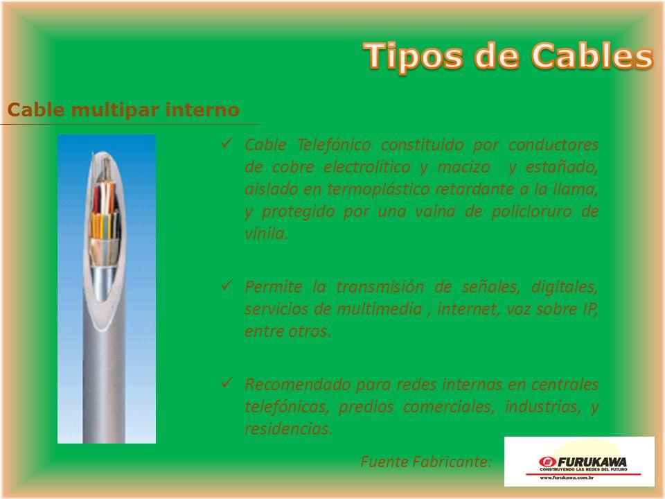 Cable de acceso digital Cable Telefónico constituido por conductores de cobre electrolítico y macizo, aislado en termoplástico, reunidos de dos a seis