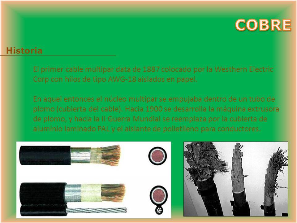 Historia El primer cable multipar data de 1887 colocado por la Westhern Electric Corp con hilos de tipo AWG-18 aislados en papel.