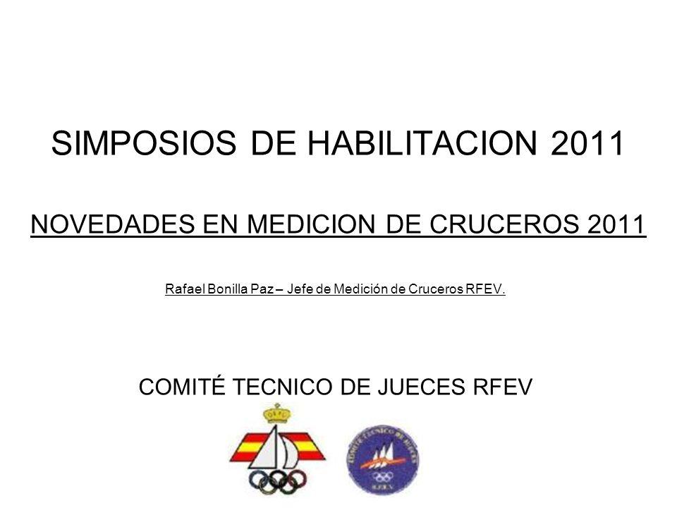 CALENDARIO ALTO NIVEL Novedades en Medición de Cruceros 2011 Rafael Bonilla Paz – Jefe Medición Cruceros RFEV Presentacion disponible en WWW.RFEV.ES