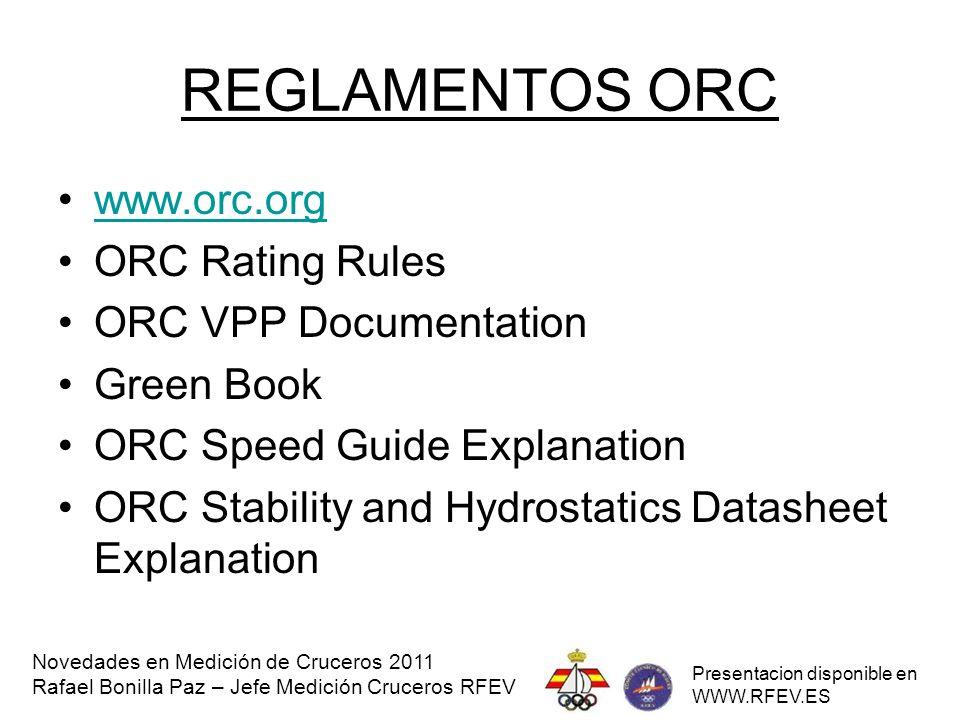 REGLAMENTO IRC www.ranc.es REGLAMENTO DE MEDICION Novedades en Medición de Cruceros 2011 Rafael Bonilla Paz – Jefe Medición Cruceros RFEV Presentacion disponible en WWW.RFEV.ES
