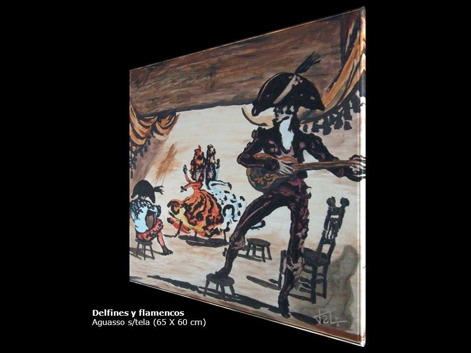 Aguassos y Óleos Delfines y flamencos Aguasso s/tela (65 X 60 cm)