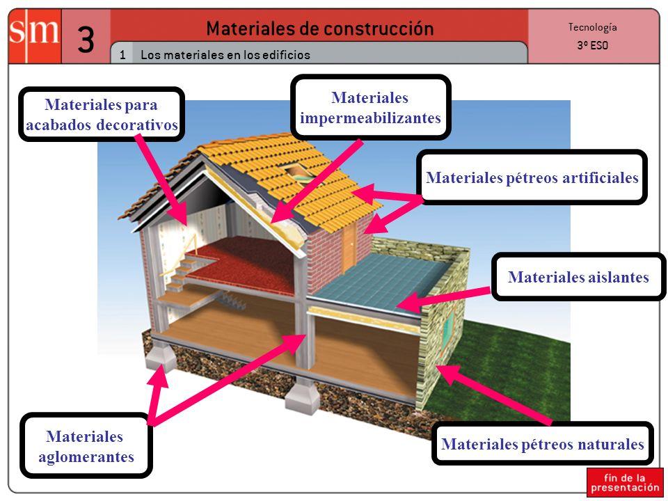 3 Materiales de construcción 1 Tecnología 3º ESO Los materiales en los edificios Materiales pétreos naturales Materiales para acabados decorativos Materiales pétreos artificiales Materiales impermeabilizantes Materiales aislantes Materiales aglomerantes