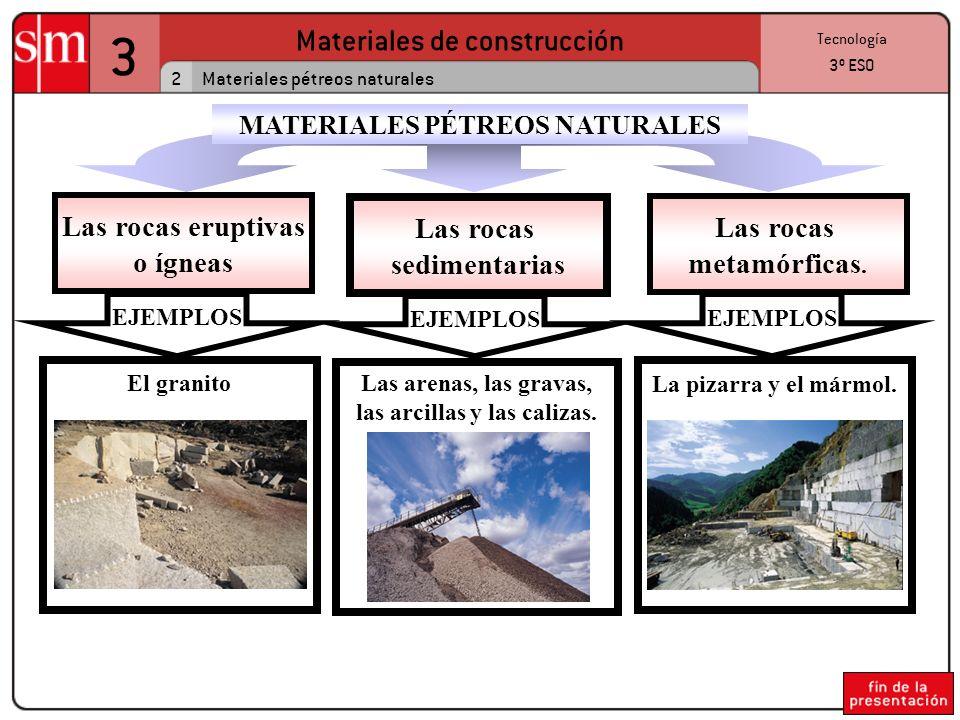 3 Materiales de construcción 2 Tecnología 3º ESO Materiales pétreos naturales Las rocas eruptivas o ígneas EJEMPLOS El granito Las rocas sedimentarias EJEMPLOS Las arenas, las gravas, las arcillas y las calizas.