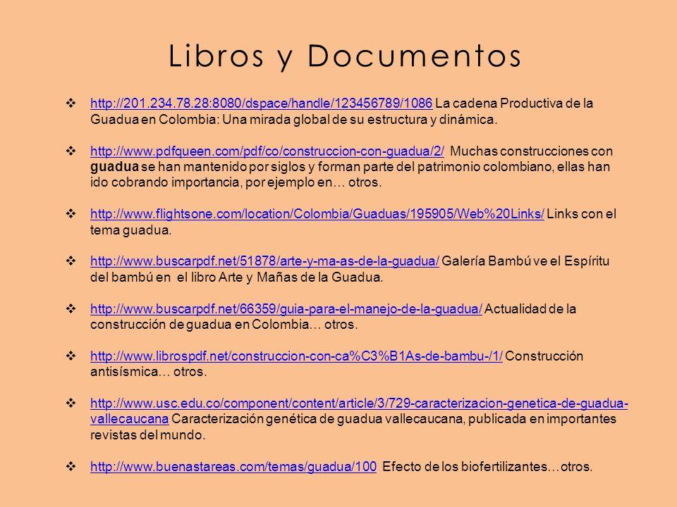Libros y Documentos http://201.234.78.28:8080/dspace/handle/123456789/1086 La cadena Productiva de la Guadua en Colombia: Una mirada global de su estructura y dinámica.