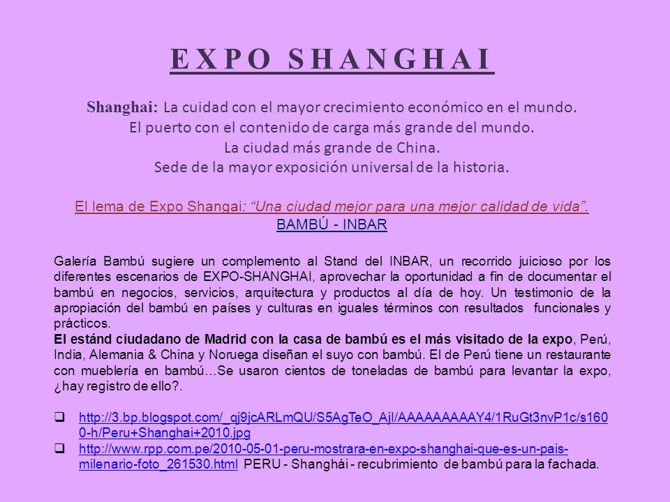 EXPO SHANGHAI Shanghai: La cuidad con el mayor crecimiento económico en el mundo.