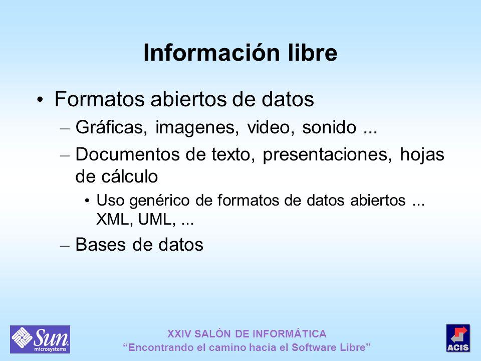 XXIV SALÓN DE INFORMÁTICA Encontrando el camino hacia el Software Libre Información libre Formatos abiertos de datos – Gráficas, imagenes, video, soni