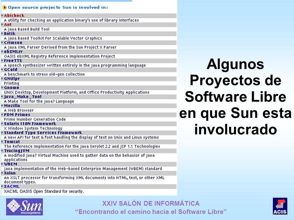 XXIV SALÓN DE INFORMÁTICA Encontrando el camino hacia el Software Libre Algunos Proyectos de Software Libre en que Sun esta involucrado