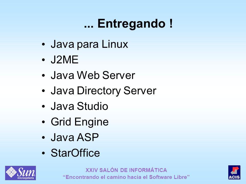 XXIV SALÓN DE INFORMÁTICA Encontrando el camino hacia el Software Libre... Entregando ! Java para Linux J2ME Java Web Server Java Directory Server Jav
