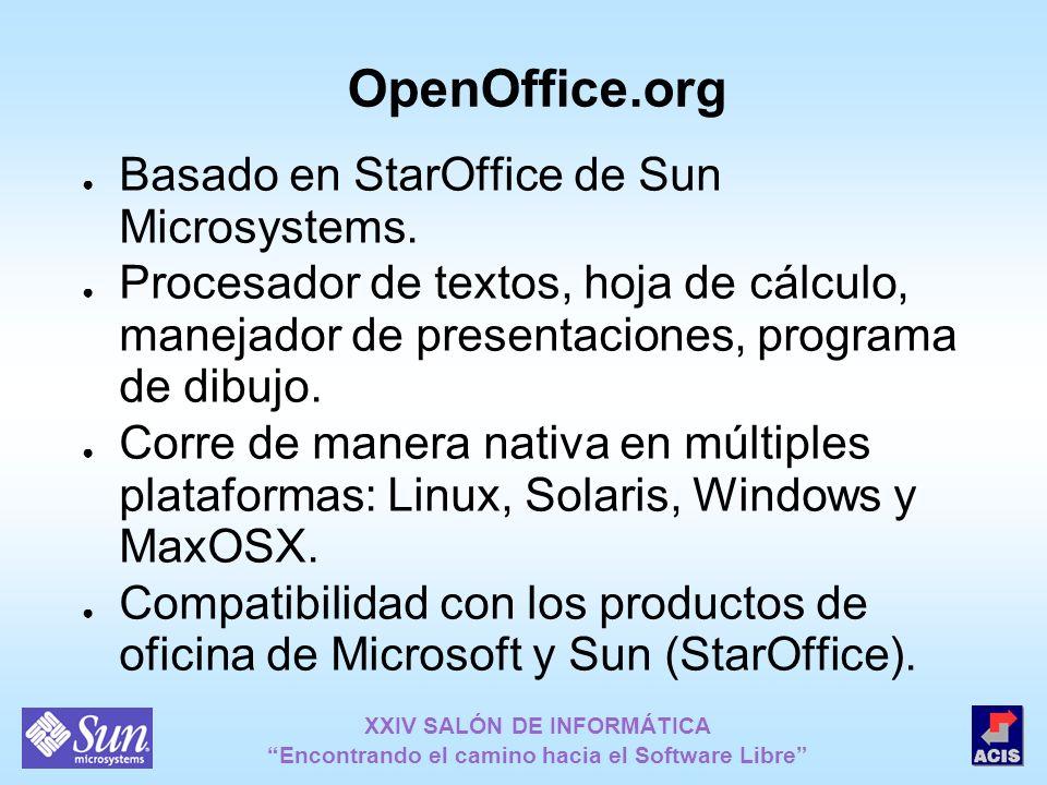 XXIV SALÓN DE INFORMÁTICA Encontrando el camino hacia el Software Libre OpenOffice.org Basado en StarOffice de Sun Microsystems. Procesador de textos,