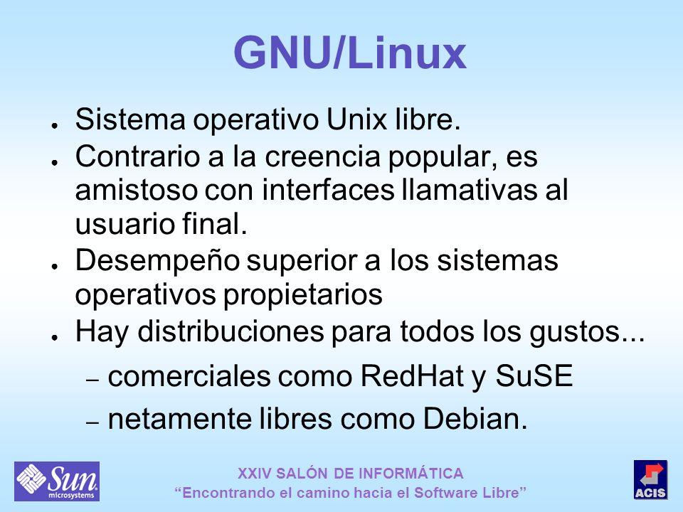 GNU/Linux Sistema operativo Unix libre. Contrario a la creencia popular, es amistoso con interfaces llamativas al usuario final. Desempeño superior a