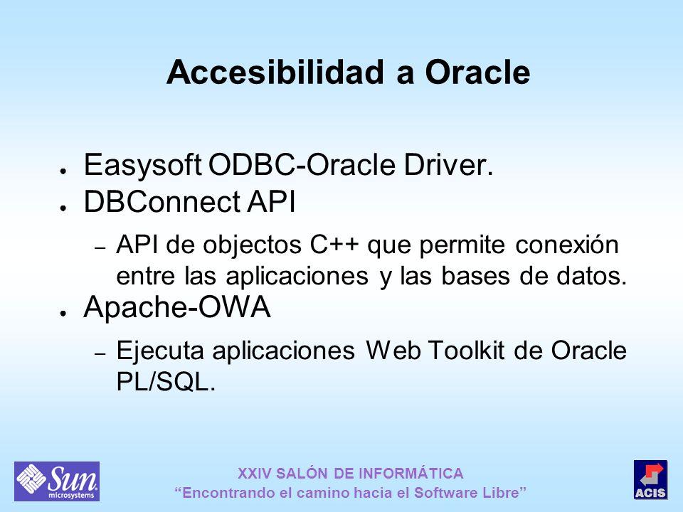 XXIV SALÓN DE INFORMÁTICA Encontrando el camino hacia el Software Libre Accesibilidad a Oracle Easysoft ODBC-Oracle Driver. DBConnect API – API de obj